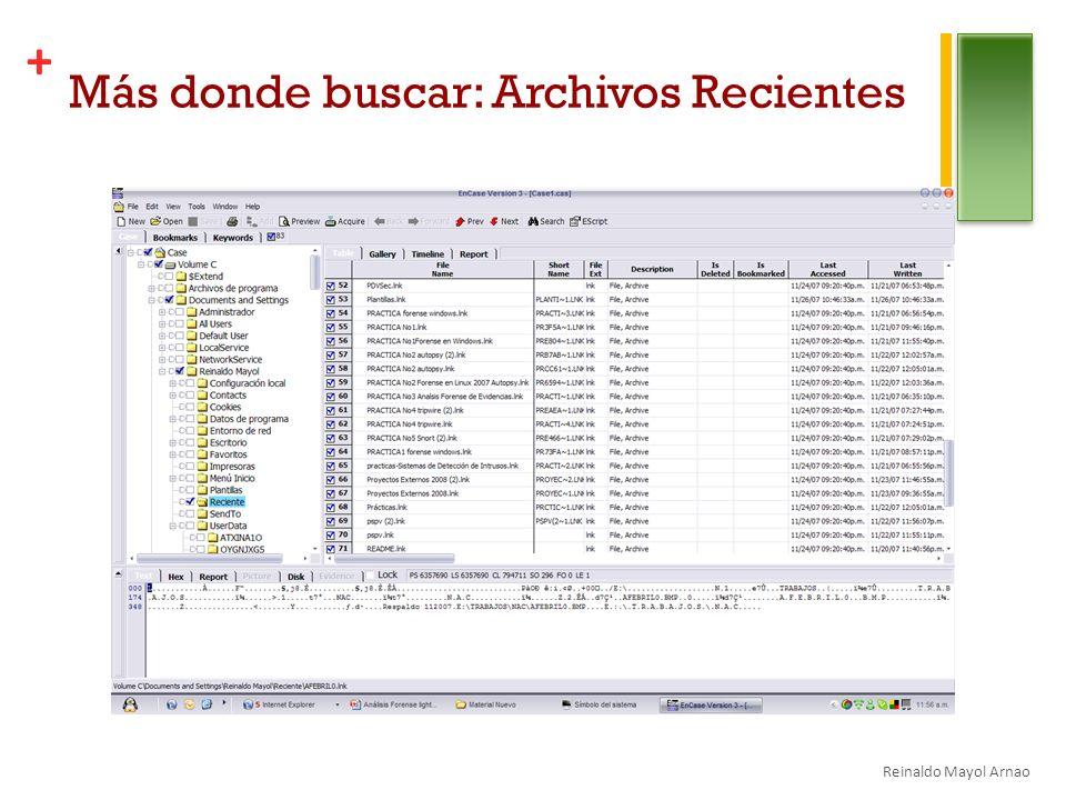 Más donde buscar: Archivos Recientes