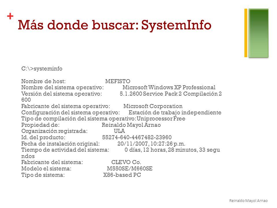 Más donde buscar: SystemInfo