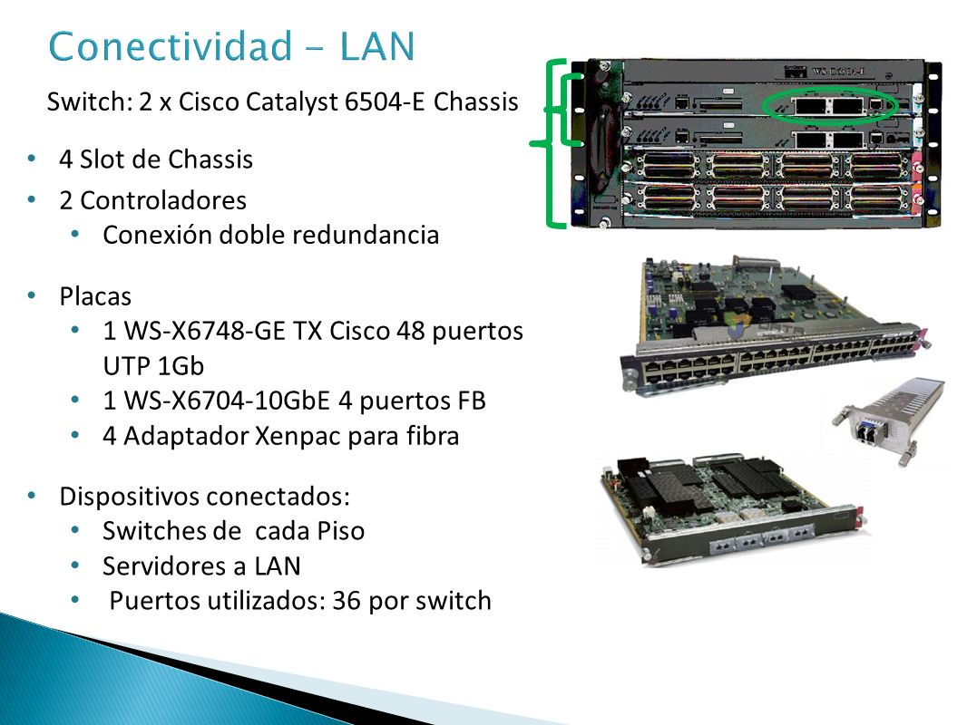 Conectividad - LAN Switch: 2 x Cisco Catalyst 6504-E Chassis