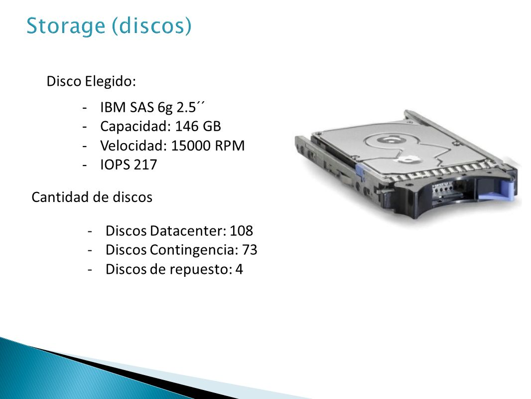 Storage (discos) Disco Elegido: IBM SAS 6g 2.5´´ Capacidad: 146 GB