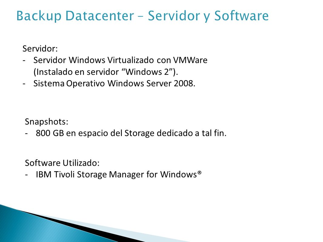 Backup Datacenter – Servidor y Software