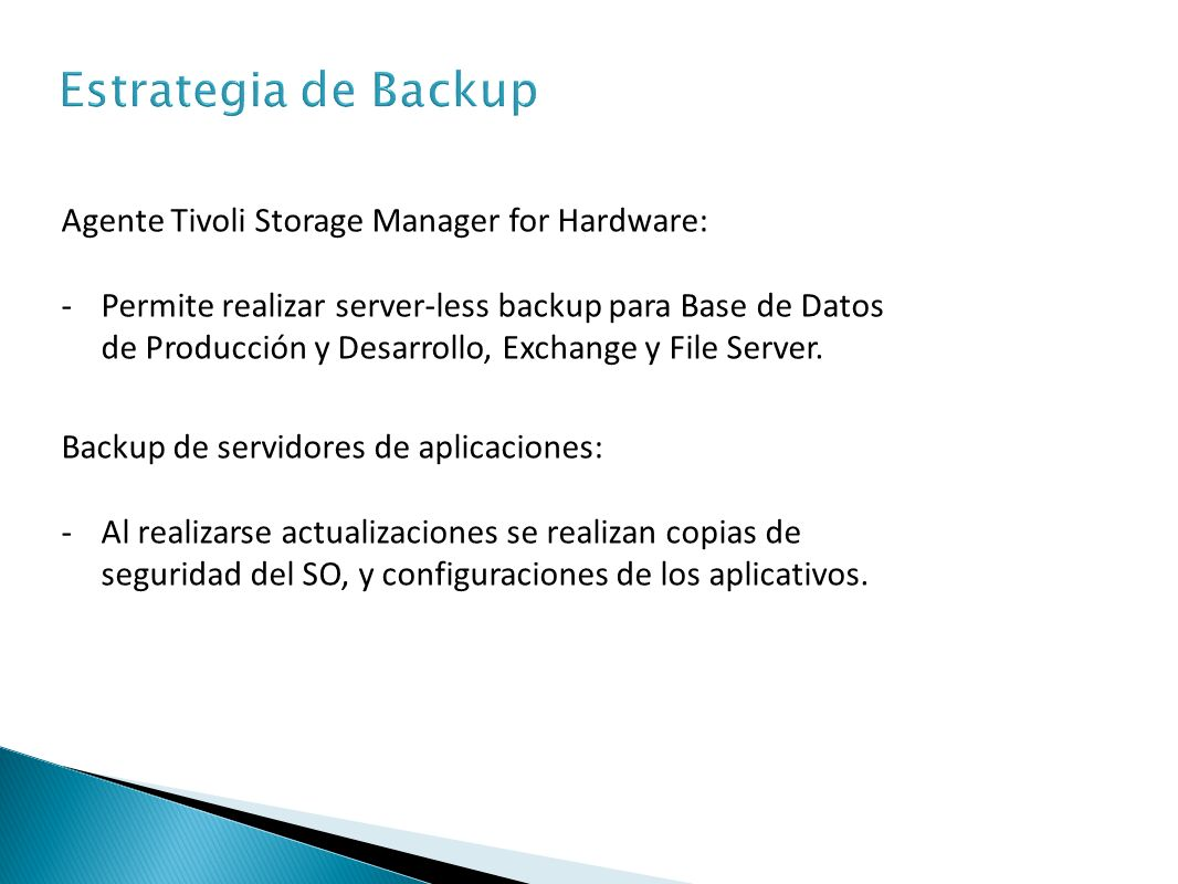 Estrategia de Backup Agente Tivoli Storage Manager for Hardware: