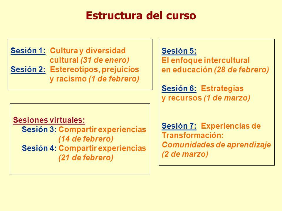 Estructura del curso Sesión 1: Cultura y diversidad cultural (31 de enero)