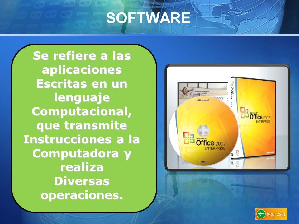 SOFTWARE Se refiere a las aplicaciones Escritas en un lenguaje