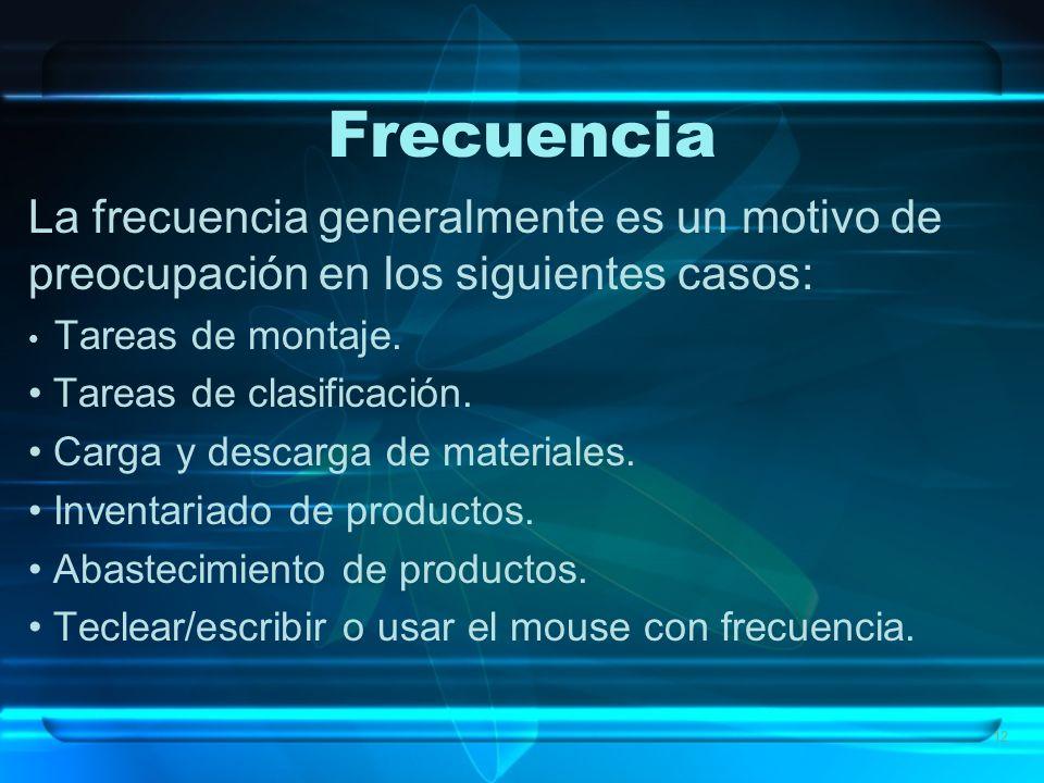 Frecuencia La frecuencia generalmente es un motivo de preocupación en los siguientes casos: Tareas de montaje.