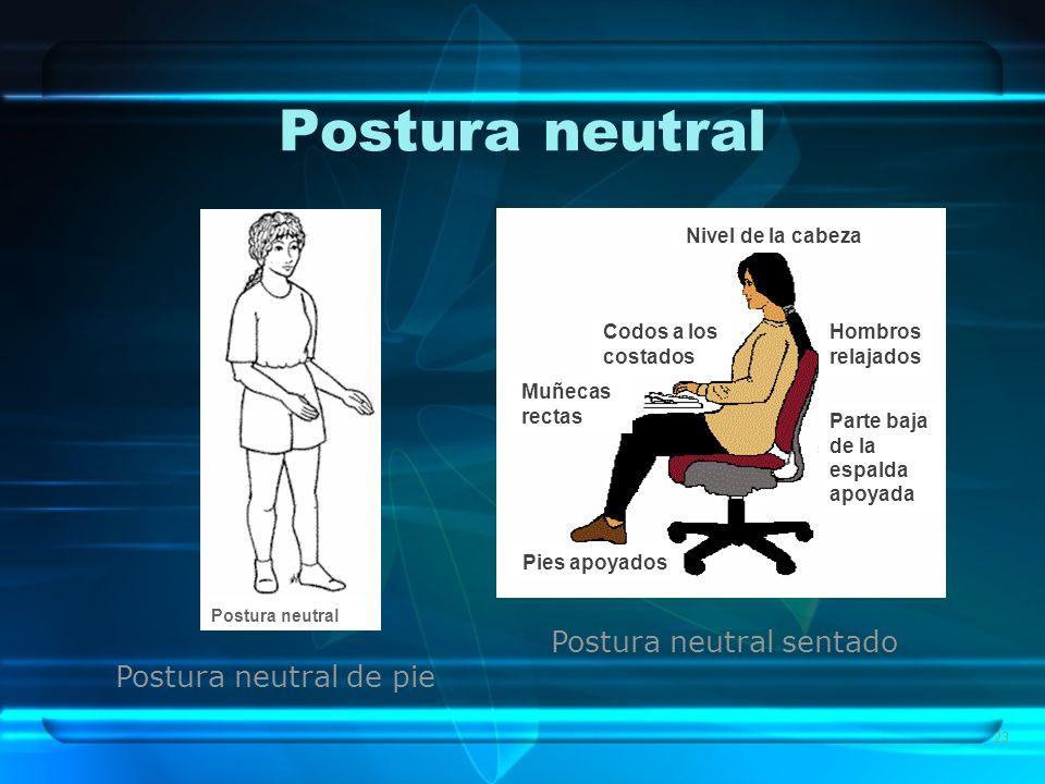Postura neutral Postura neutral sentado Postura neutral de pie