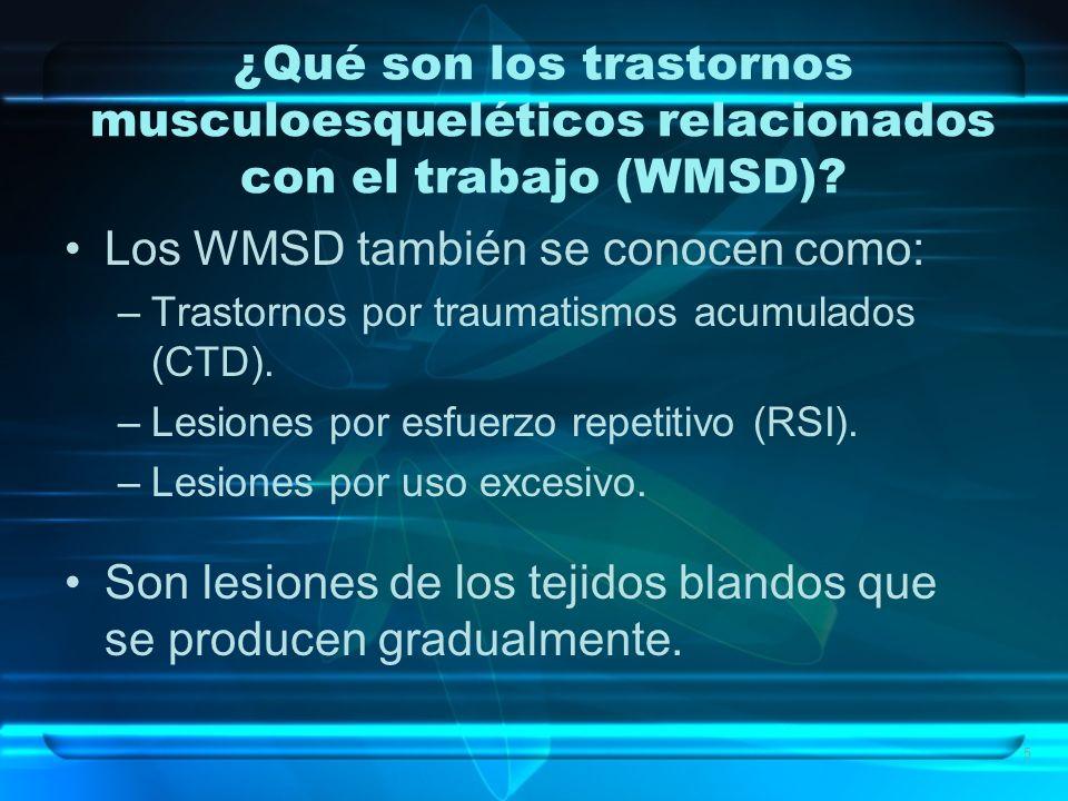 Los WMSD también se conocen como: