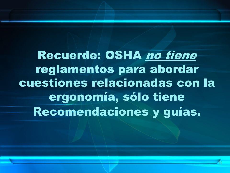 Recuerde: OSHA no tiene reglamentos para abordar cuestiones relacionadas con la ergonomía, sólo tiene Recomendaciones y guías.