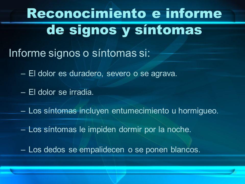 Reconocimiento e informe de signos y síntomas