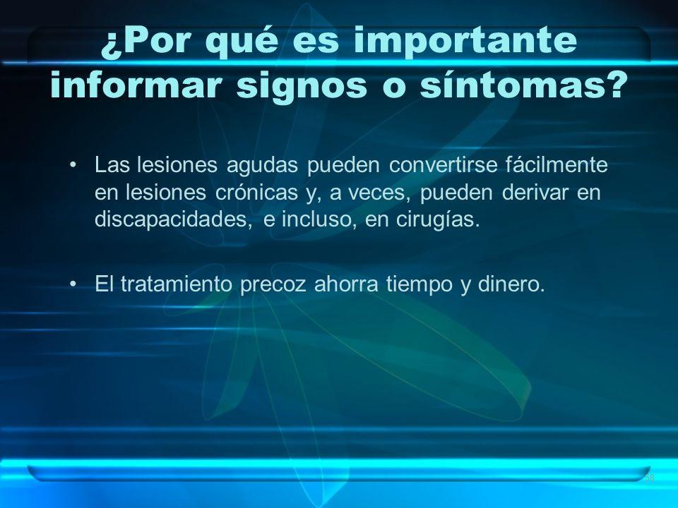 ¿Por qué es importante informar signos o síntomas