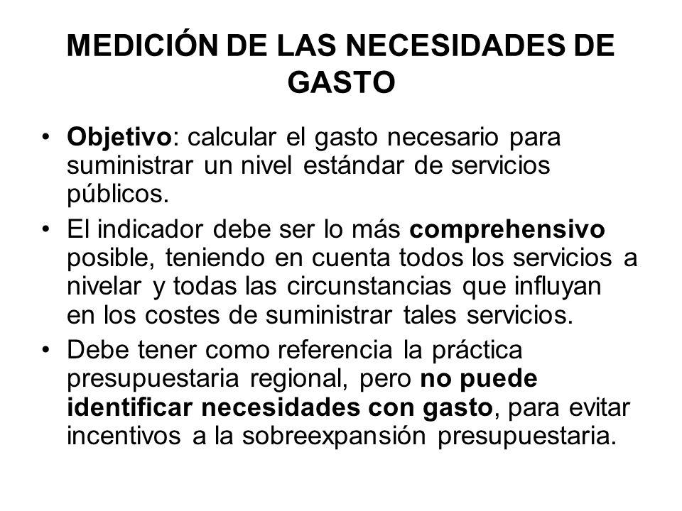 MEDICIÓN DE LAS NECESIDADES DE GASTO