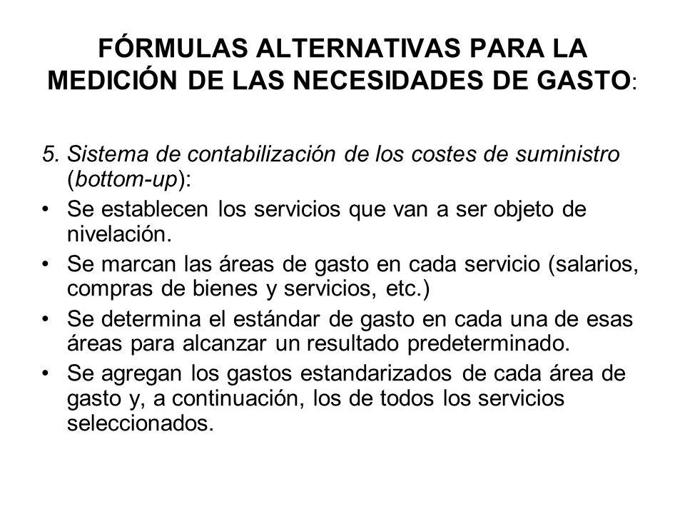 FÓRMULAS ALTERNATIVAS PARA LA MEDICIÓN DE LAS NECESIDADES DE GASTO: