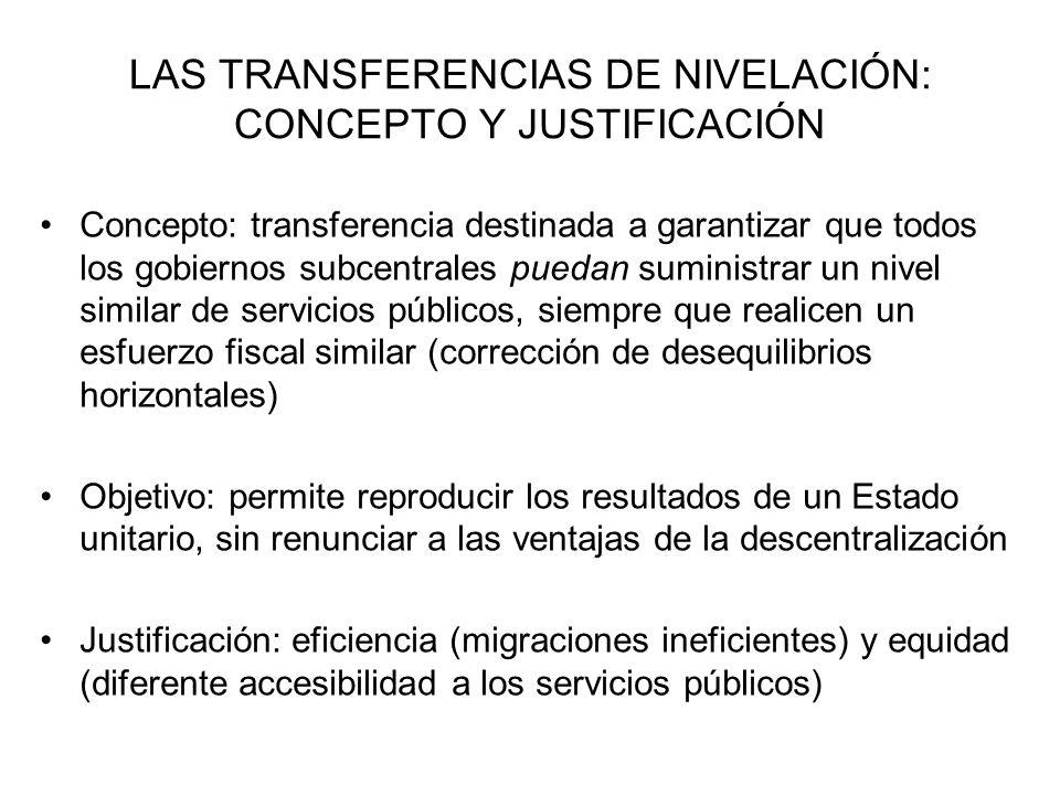 LAS TRANSFERENCIAS DE NIVELACIÓN: CONCEPTO Y JUSTIFICACIÓN