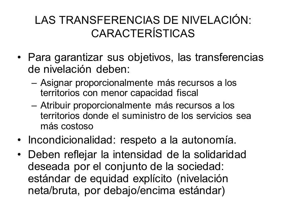 LAS TRANSFERENCIAS DE NIVELACIÓN: CARACTERÍSTICAS