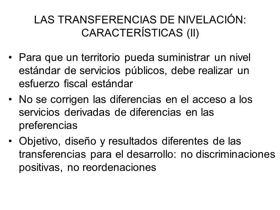 LAS TRANSFERENCIAS DE NIVELACIÓN: CARACTERÍSTICAS (II)