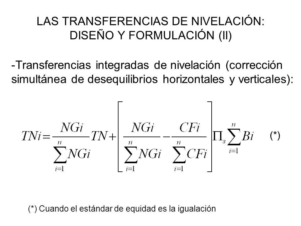 LAS TRANSFERENCIAS DE NIVELACIÓN: DISEÑO Y FORMULACIÓN (II)
