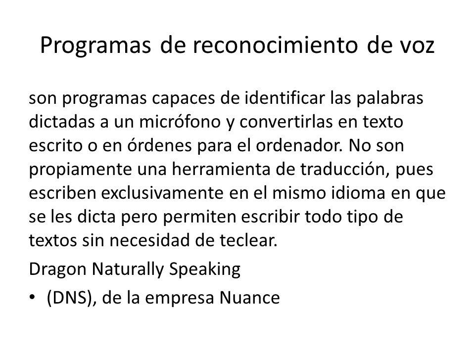 Programas de reconocimiento de voz