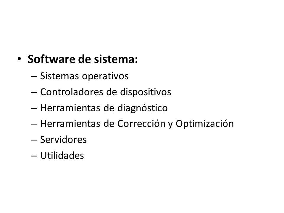 Software de sistema: Sistemas operativos Controladores de dispositivos