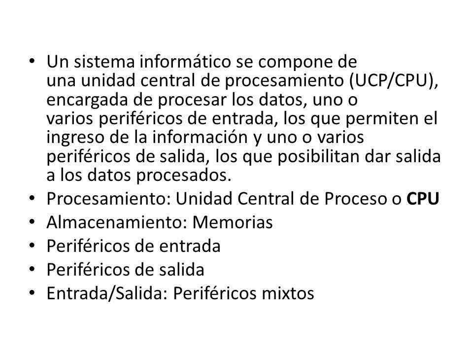 Un sistema informático se compone de una unidad central de procesamiento (UCP/CPU), encargada de procesar los datos, uno o varios periféricos de entrada, los que permiten el ingreso de la información y uno o varios periféricos de salida, los que posibilitan dar salida a los datos procesados.