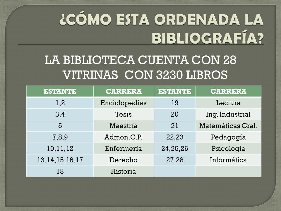 ¿CÓMO ESTA ORDENADA LA BIBLIOGRAFÍA