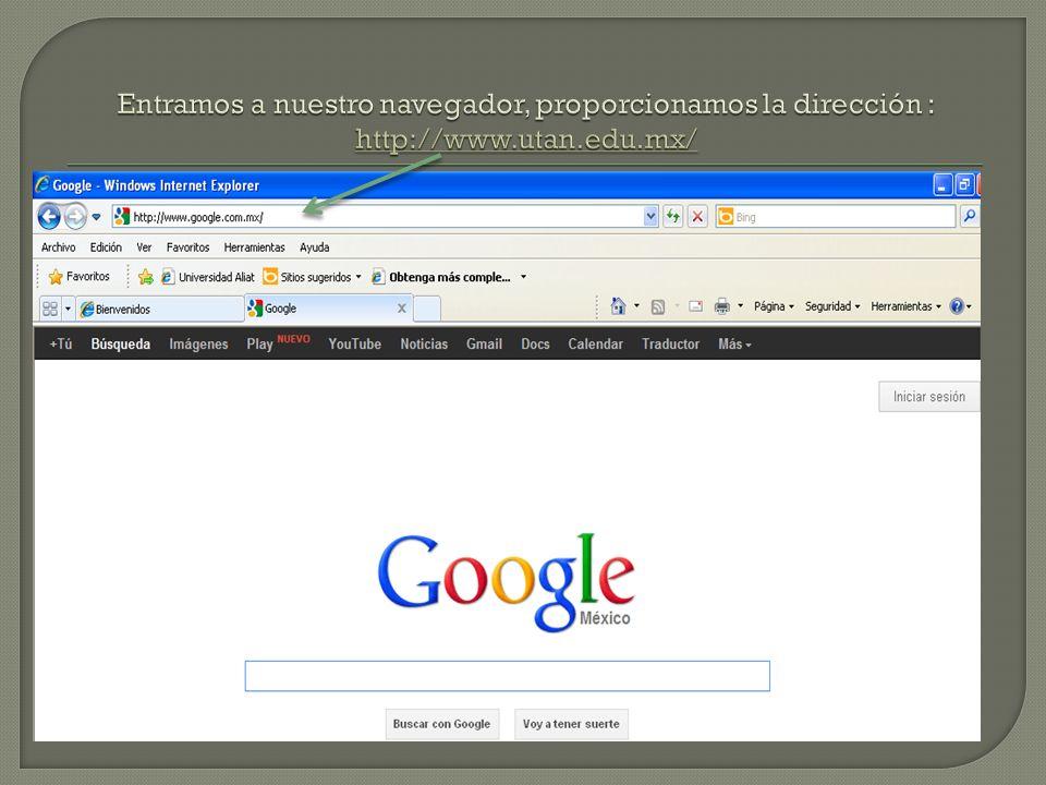 Entramos a nuestro navegador, proporcionamos la dirección : http://www