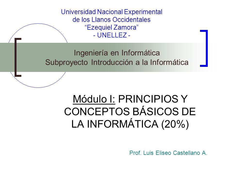 Módulo I: PRINCIPIOS Y CONCEPTOS BÁSICOS DE LA INFORMÁTICA (20%)