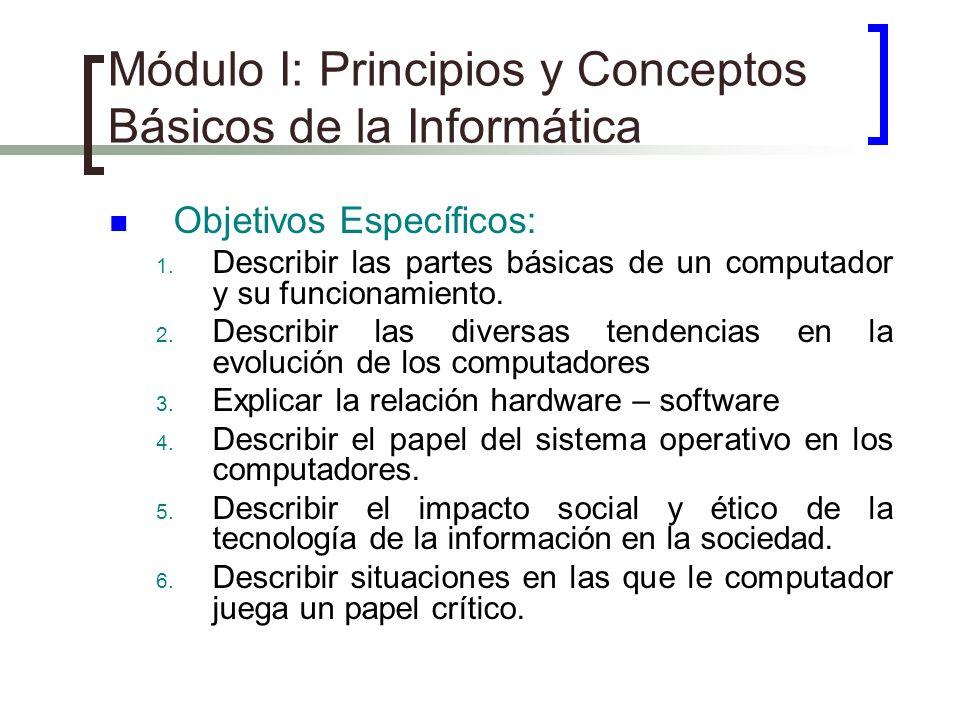 Módulo I: Principios y Conceptos Básicos de la Informática