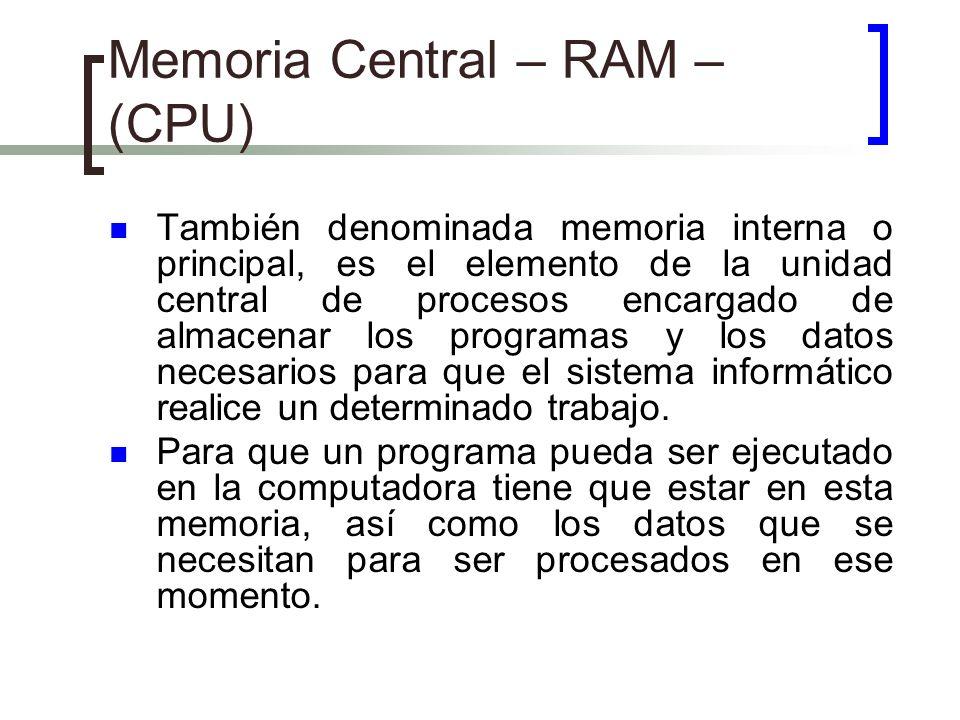 Memoria Central – RAM – (CPU)
