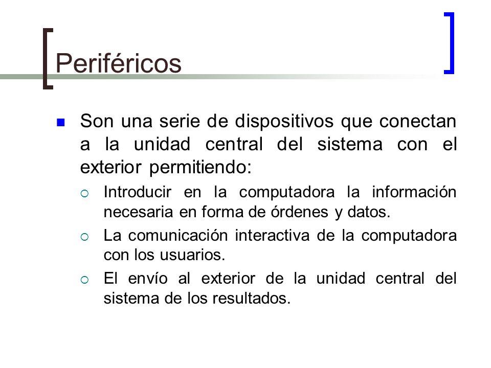 Periféricos Son una serie de dispositivos que conectan a la unidad central del sistema con el exterior permitiendo:
