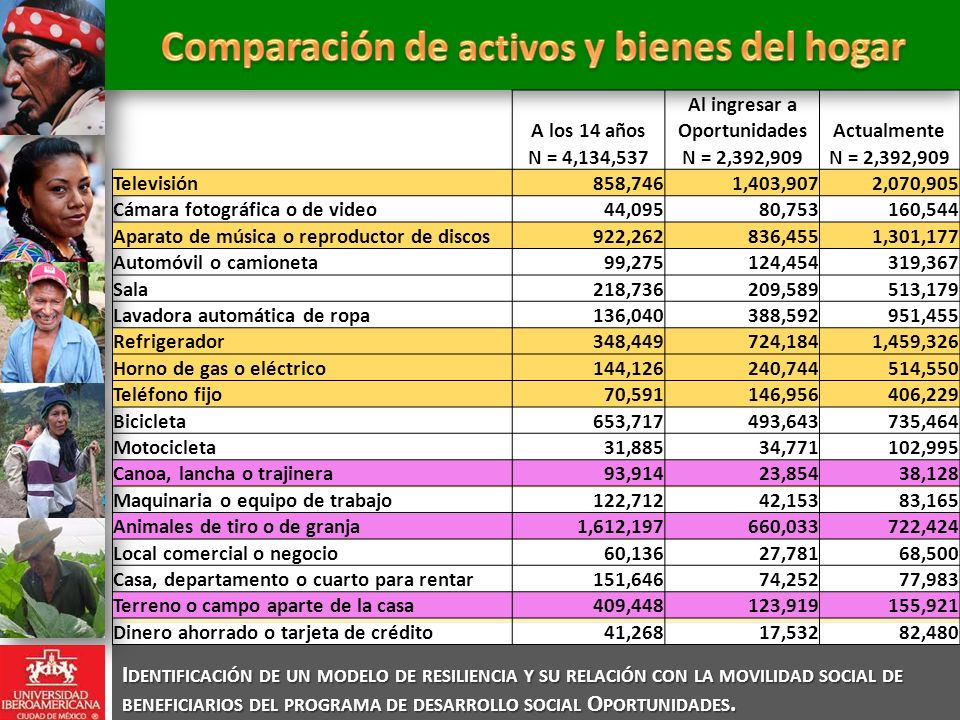 Comparación de activos y bienes del hogar