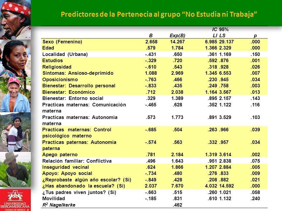 Predictores de la Pertenecia al grupo No Estudia ni Trabaja
