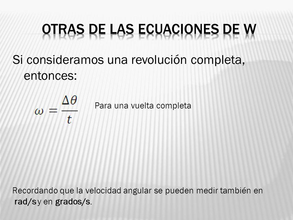 Otras de las ecuaciones de w