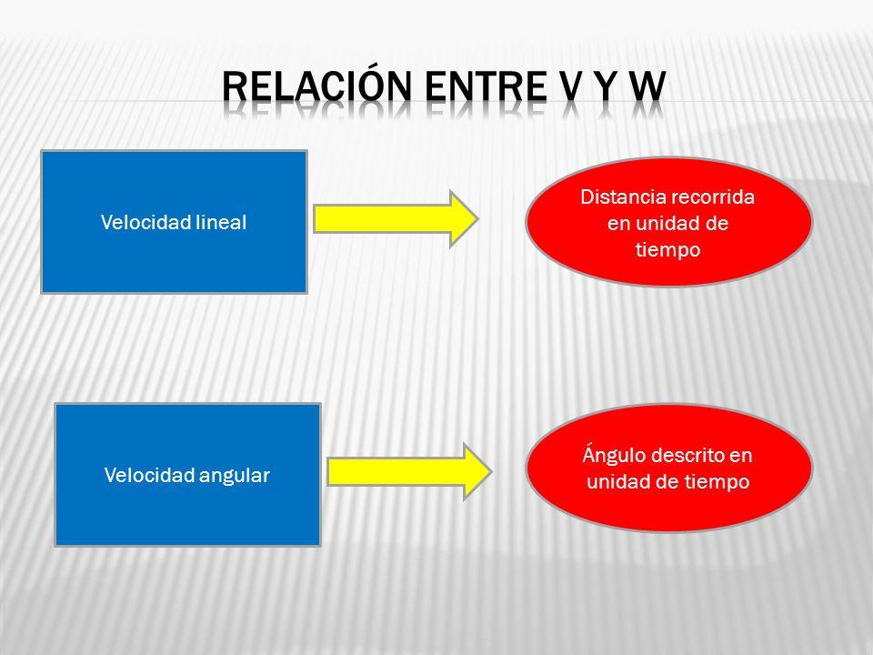 Relación entre v y w r Distancia recorrida en unidad de tiempo