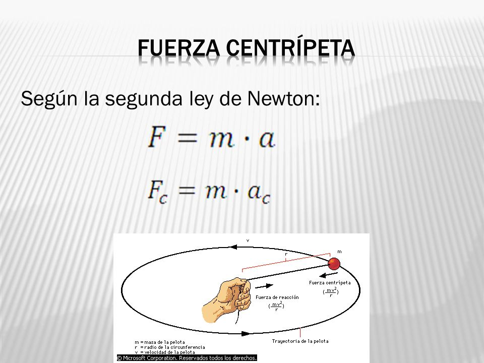 Fuerza centrípeta Según la segunda ley de Newton: