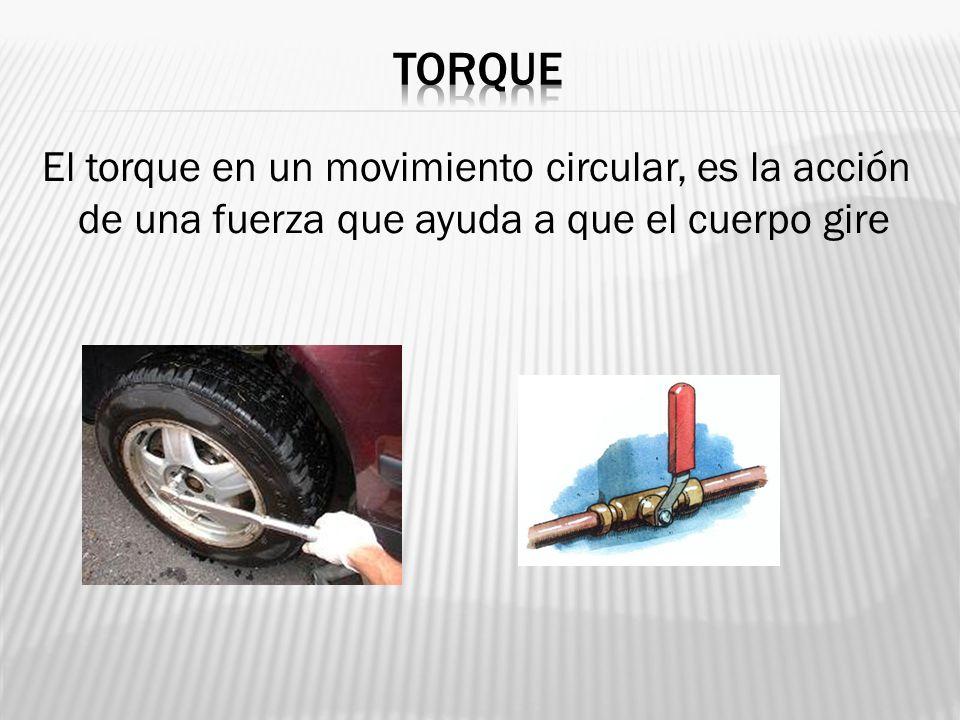 TORQUE El torque en un movimiento circular, es la acción de una fuerza que ayuda a que el cuerpo gire.