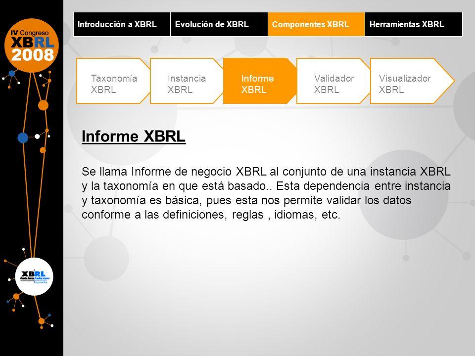 Introducción a XBRLEvolución de XBRL. Componentes XBRL. Herramientas XBRL. Taxonomía XBRL. Instancia XBRL.