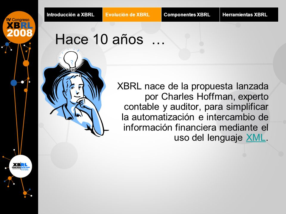 Introducción a XBRL Evolución de XBRL. Componentes XBRL. Herramientas XBRL. Hace 10 años …