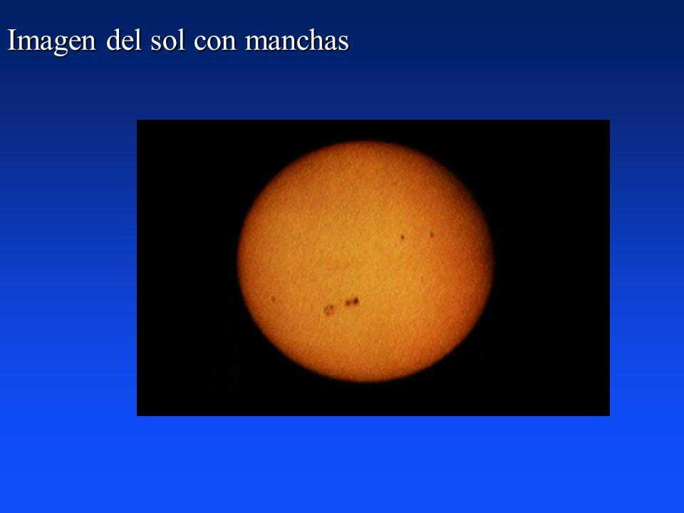 Imagen del sol con manchas
