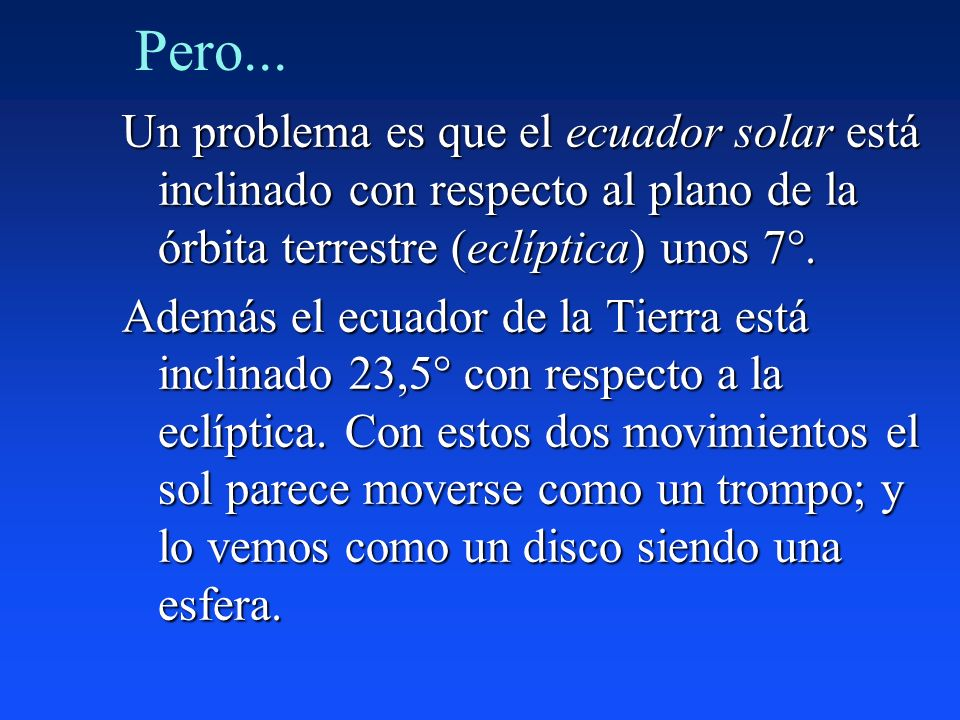 Pero... Un problema es que el ecuador solar está inclinado con respecto al plano de la órbita terrestre (eclíptica) unos 7°.