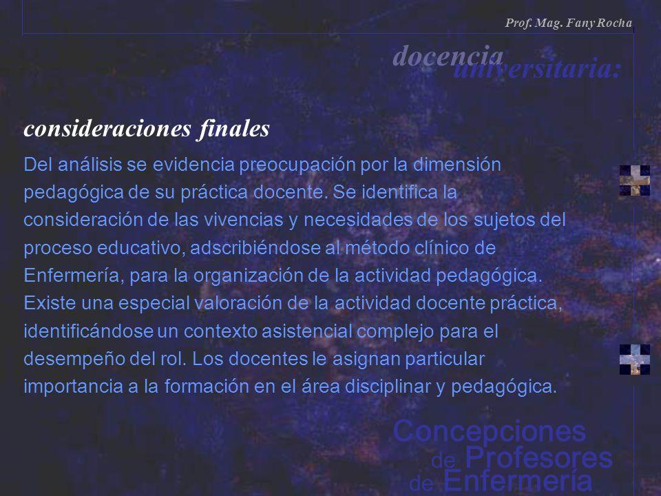 docencia universitaria: Concepciones consideraciones finales