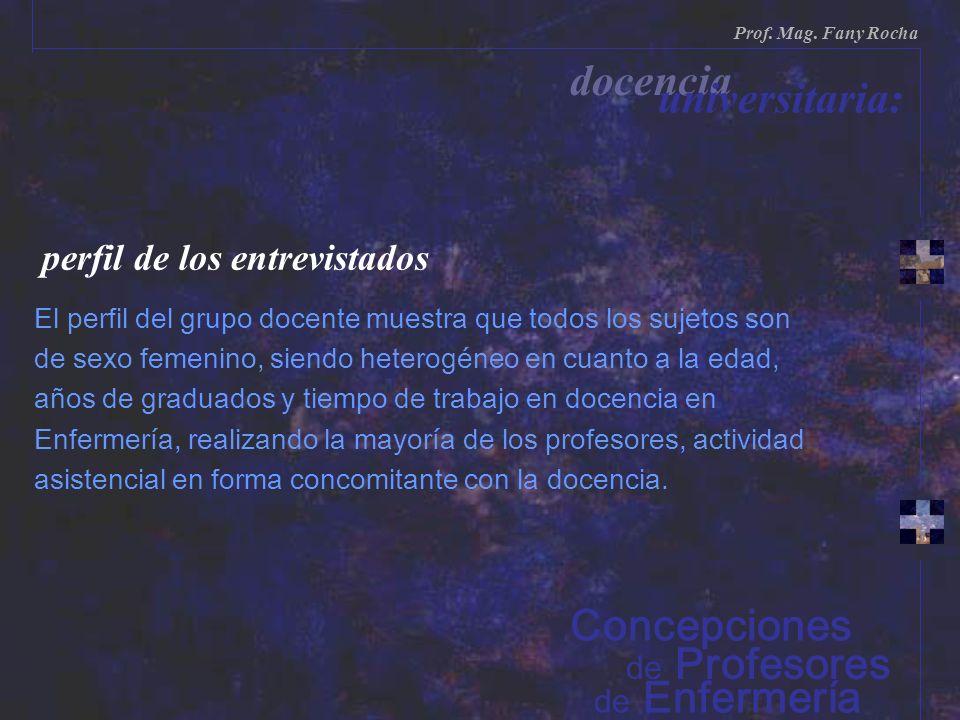 docencia universitaria: Concepciones perfil de los entrevistados