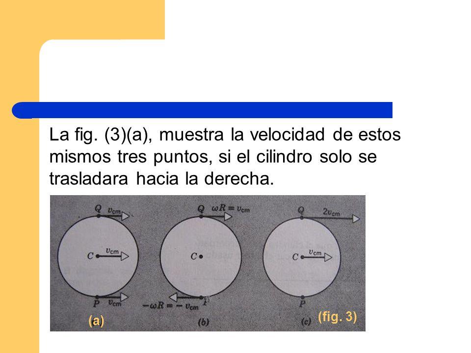 La fig. (3)(a), muestra la velocidad de estos mismos tres puntos, si el cilindro solo se trasladara hacia la derecha.