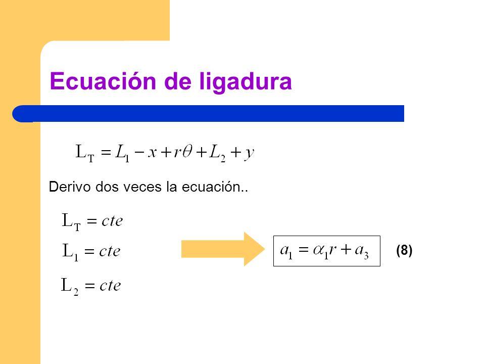 Ecuación de ligadura Derivo dos veces la ecuación.. (8)