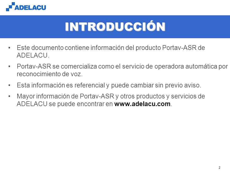 INTRODUCCIÓN Este documento contiene información del producto Portav-ASR de ADELACU.