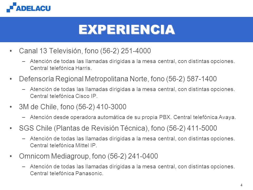 EXPERIENCIA Canal 13 Televisión, fono (56-2) 251-4000