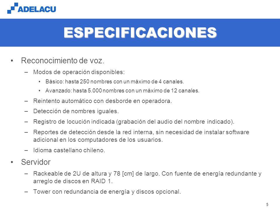 ESPECIFICACIONES Reconocimiento de voz. Servidor