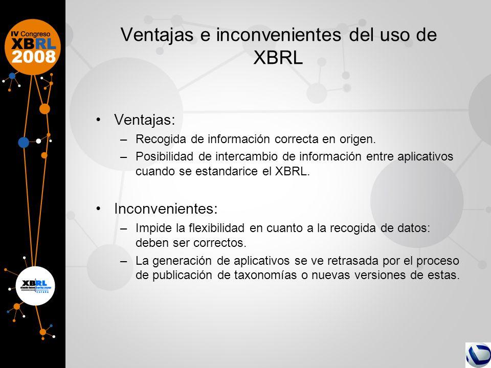 Ventajas e inconvenientes del uso de XBRL