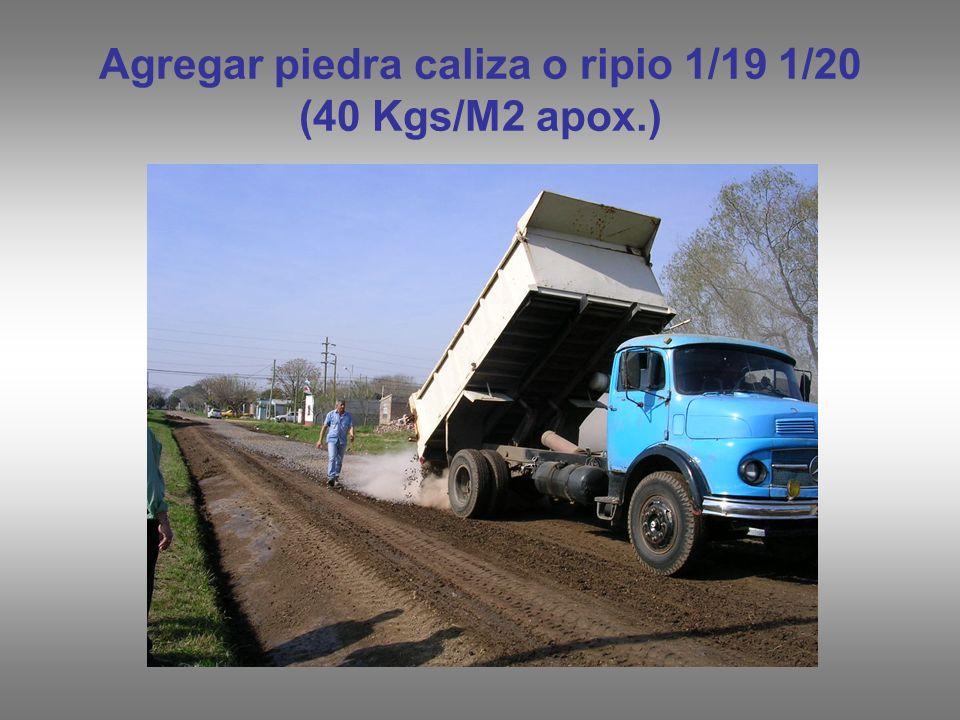 Agregar piedra caliza o ripio 1/19 1/20 (40 Kgs/M2 apox.)