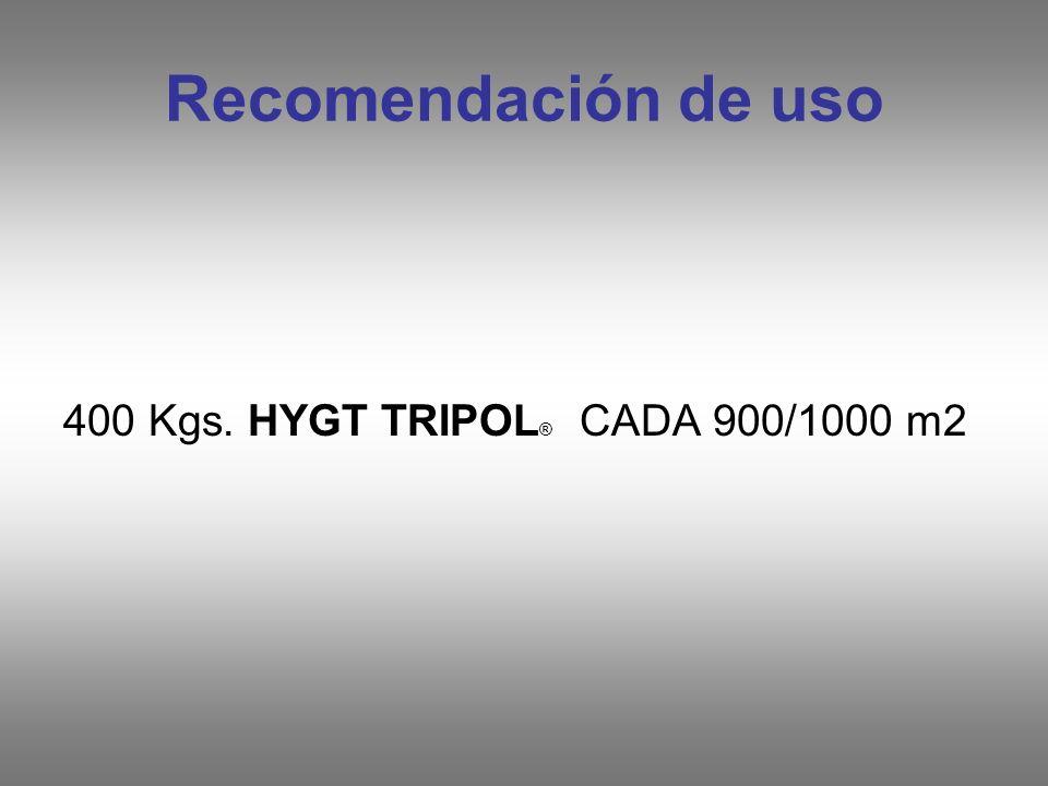 Recomendación de uso 400 Kgs. HYGT TRIPOL® CADA 900/1000 m2
