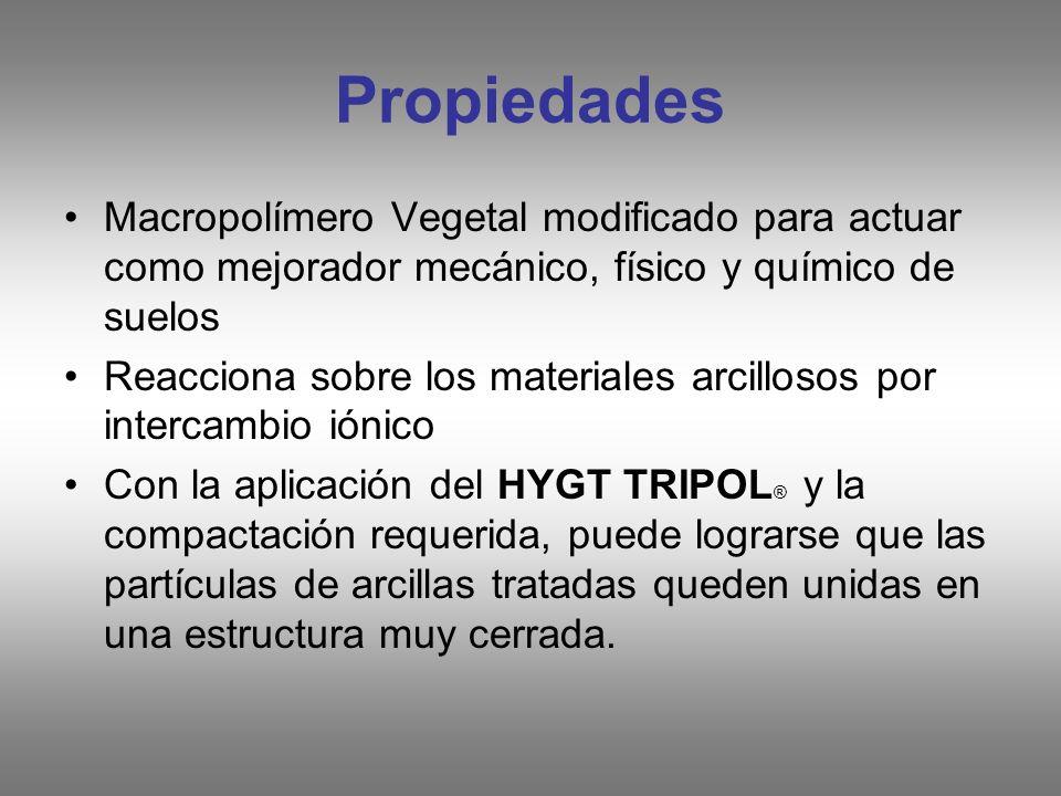Propiedades Macropolímero Vegetal modificado para actuar como mejorador mecánico, físico y químico de suelos.